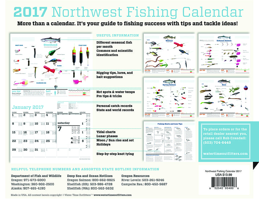2017 northwest fishing calendar water time outfitters