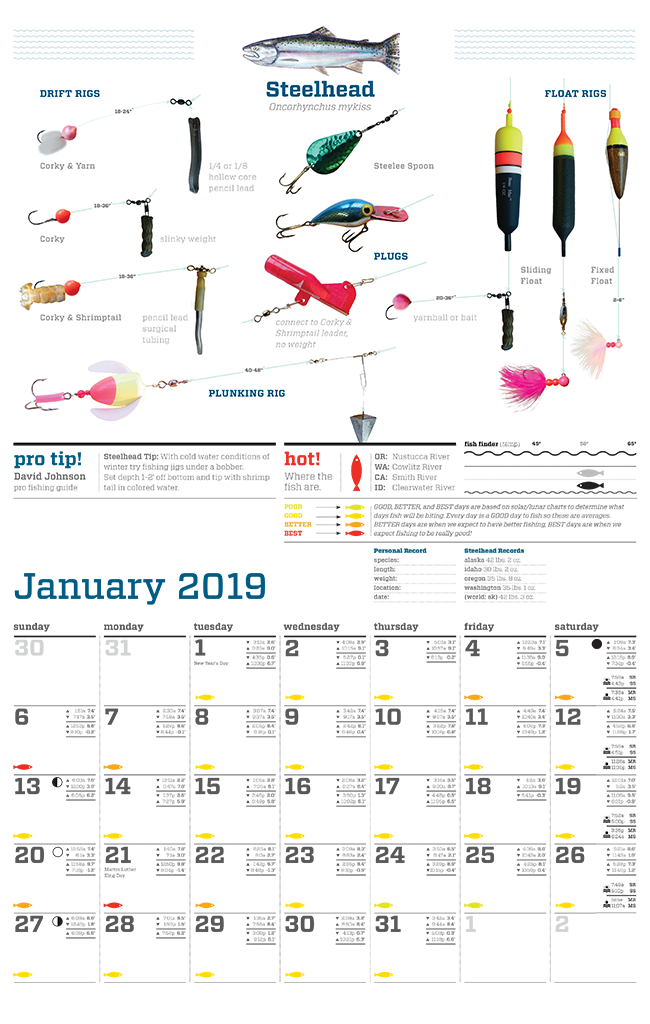 Fishing Calendar January 2019 2019 Northwest Fishing Calendar – Water Time Outfitters