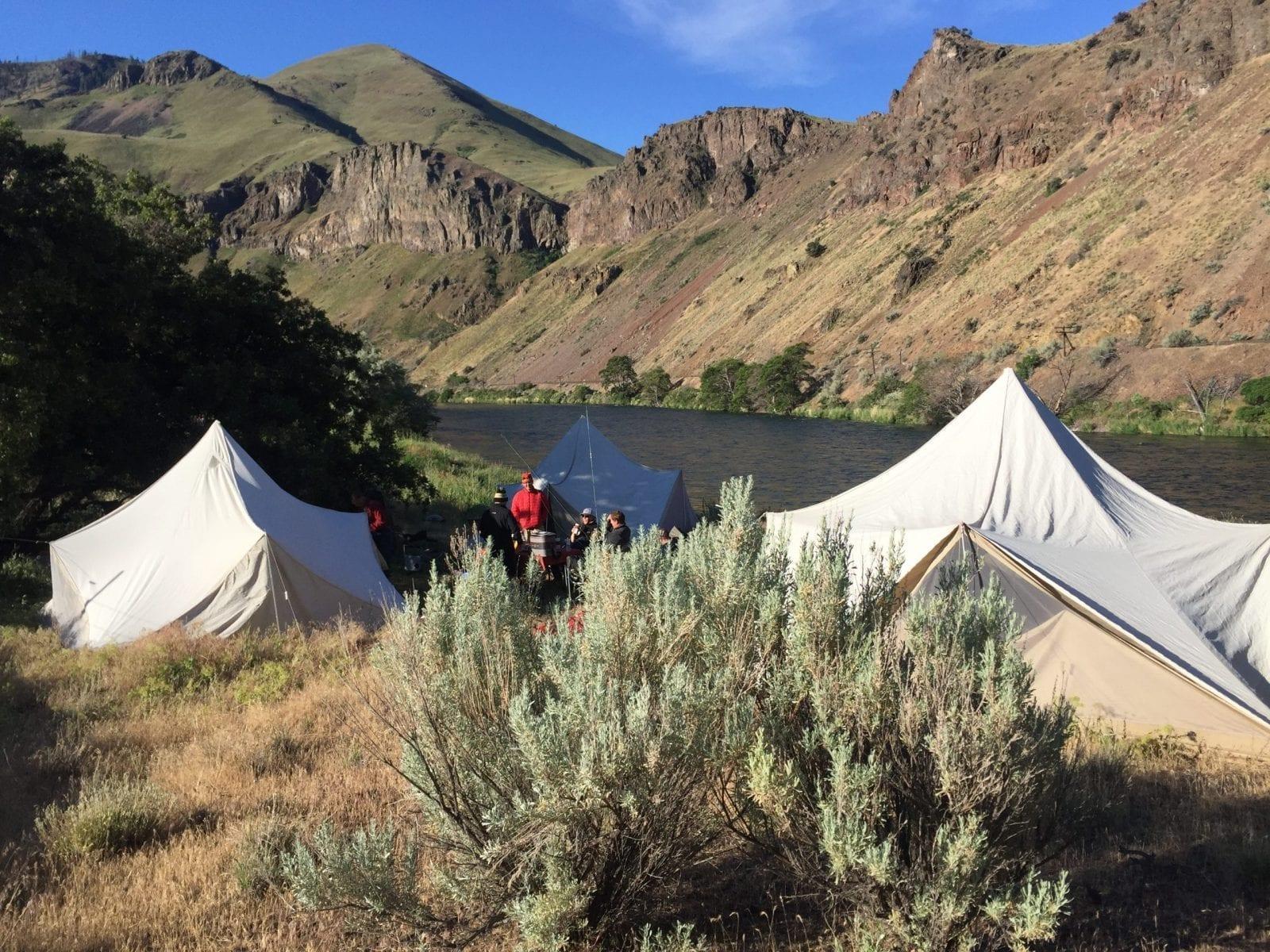 Riverside camp on the Deschutes.