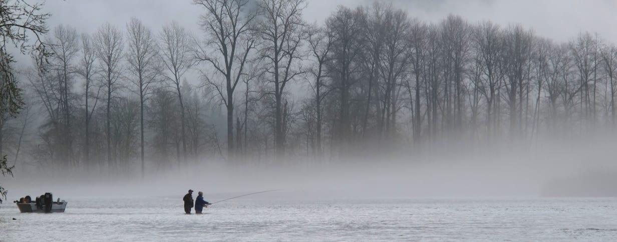 Winter steelhead Jet boat in the fog